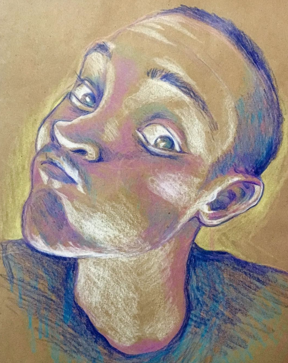 Zachary, colored pencil on toned paper, 2018