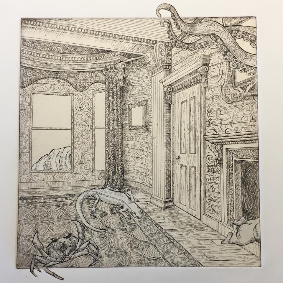 La Semaine Prochaine 3, intaglio, chine-collé, 2018