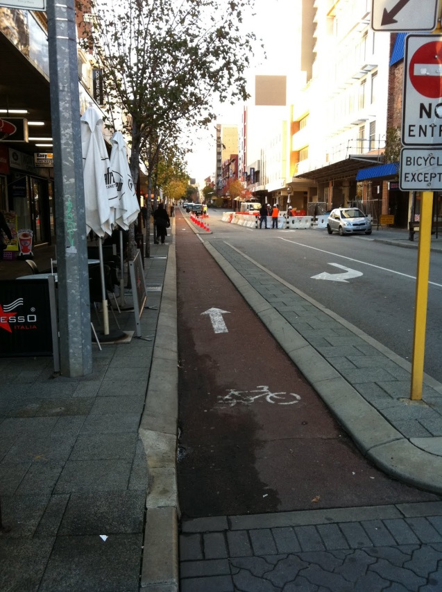 An example of a bike lane in Adelaide.