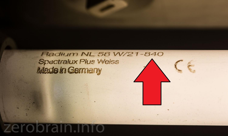 """Hier ein """"840"""" er Leuchtstoffröhre - Farbwiedergabeindex 80% - 4000K. Eine ganz gute """"kalte"""" Röhre für den Keller"""