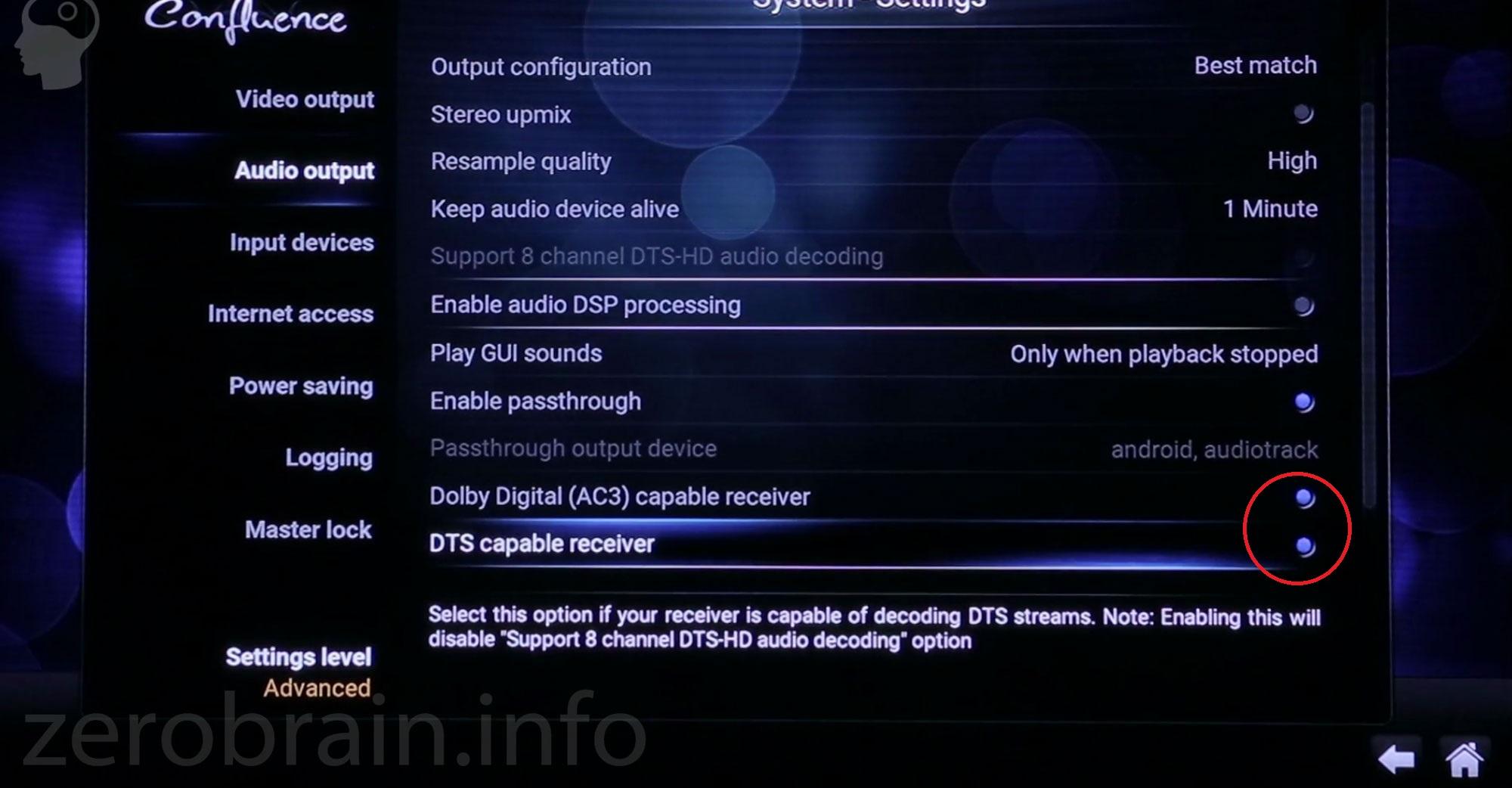 Audio Settings Kodi (Dolby, DTS)