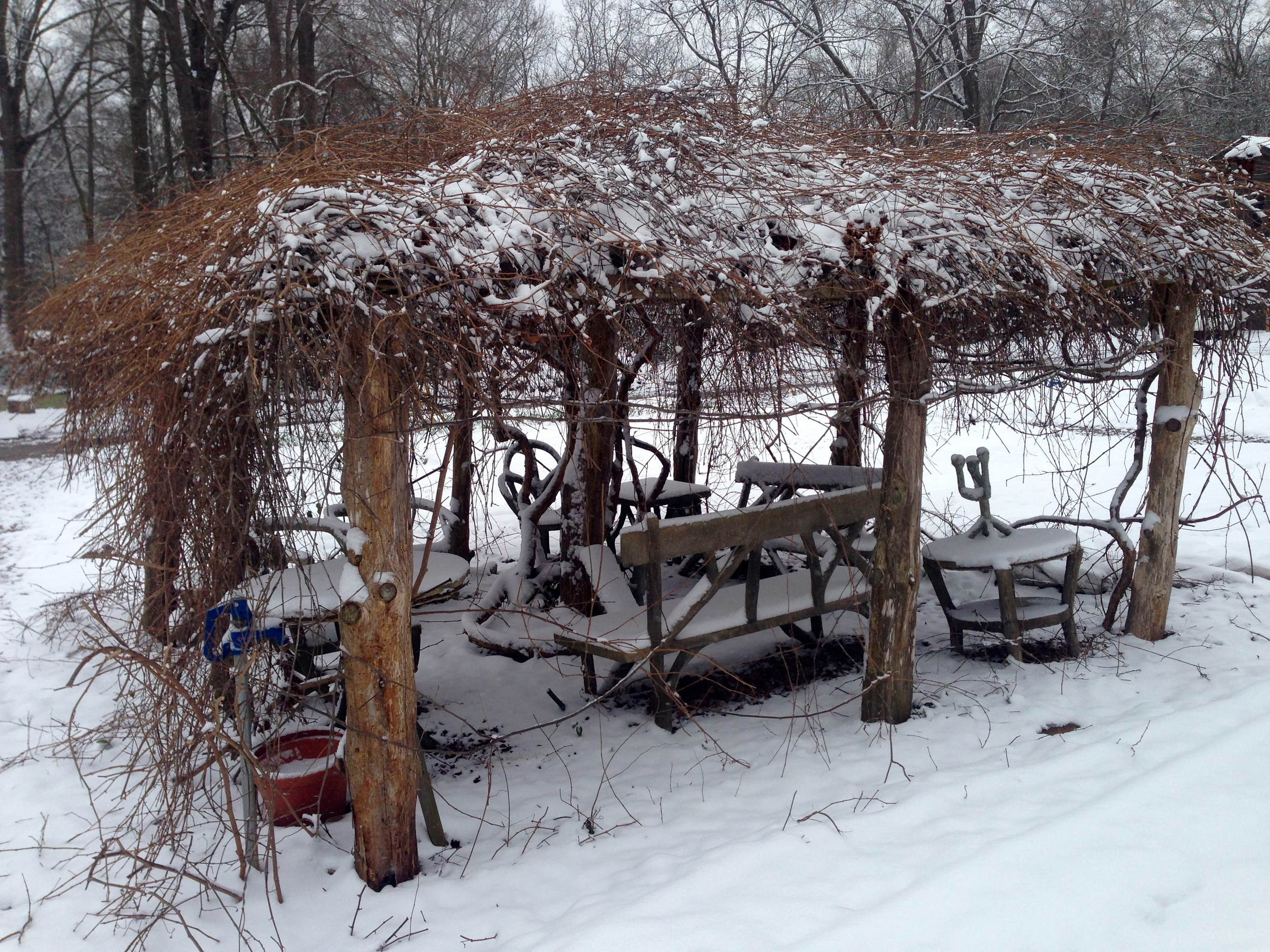 """We laugh and call this our """"summer office"""" as it provides a nice shady spot to rest for a minute when the muscadine vines are fully leafed. Not so cozy on a snow day though."""