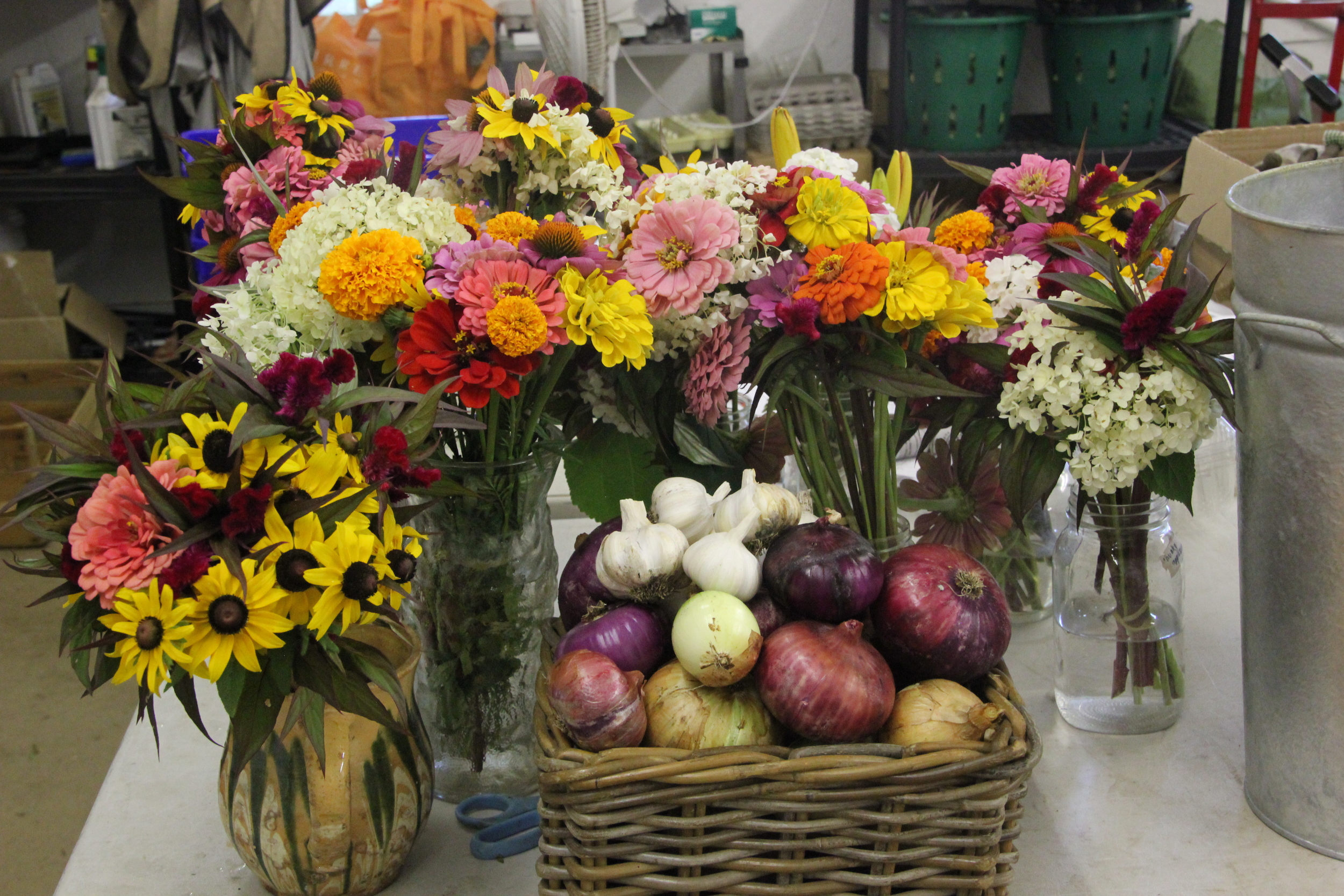 The results of all that hard work. The girls' flower bouquets, as well as garlic and onions, are ready for market.