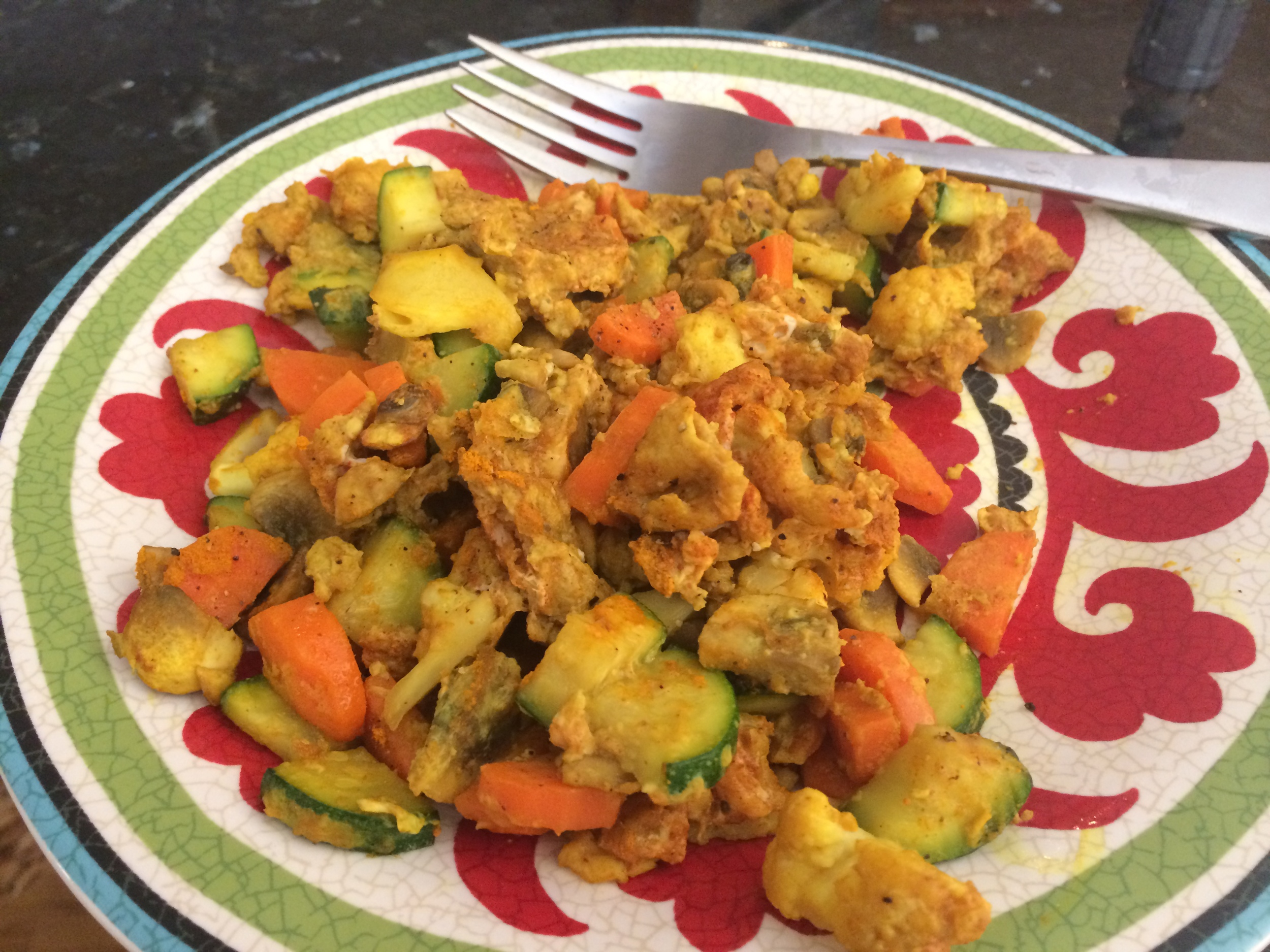 Breakfast - eggs cooked in pasture butter with vegetables and turmeric