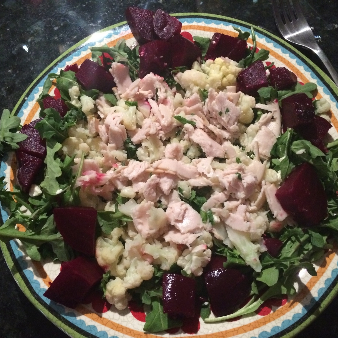 Lunch - arugula with beets, chicken, cauliflower. MCT oil added after picture.