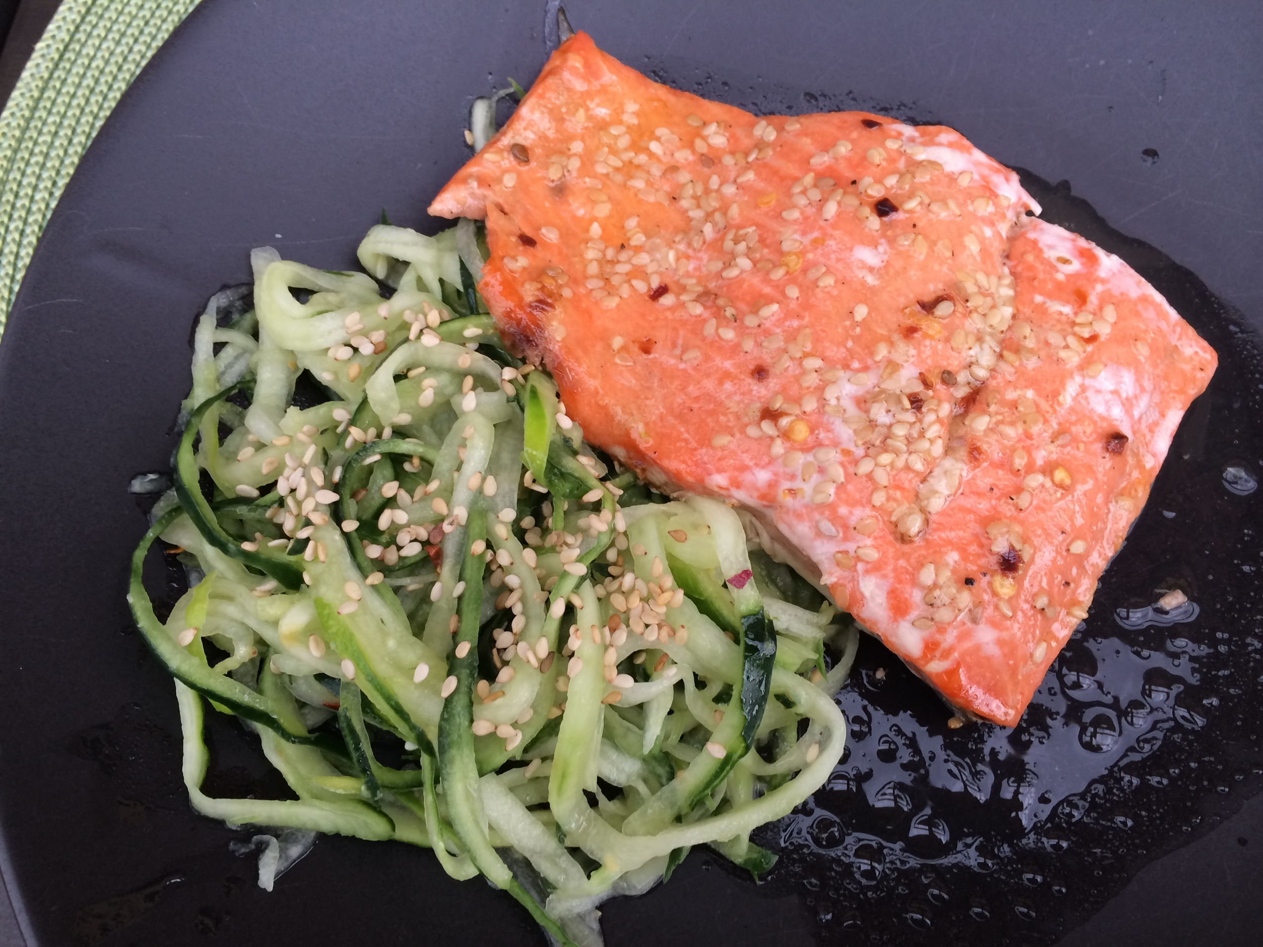 "Salmon with cucumber ""noodles"""