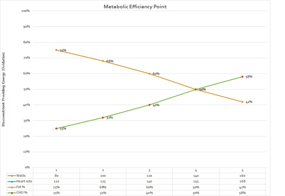 She is now burning significantly more fat until she reaches a higher intensity on the bike. This metabolic change helped her to lose fat and improve her body composition.