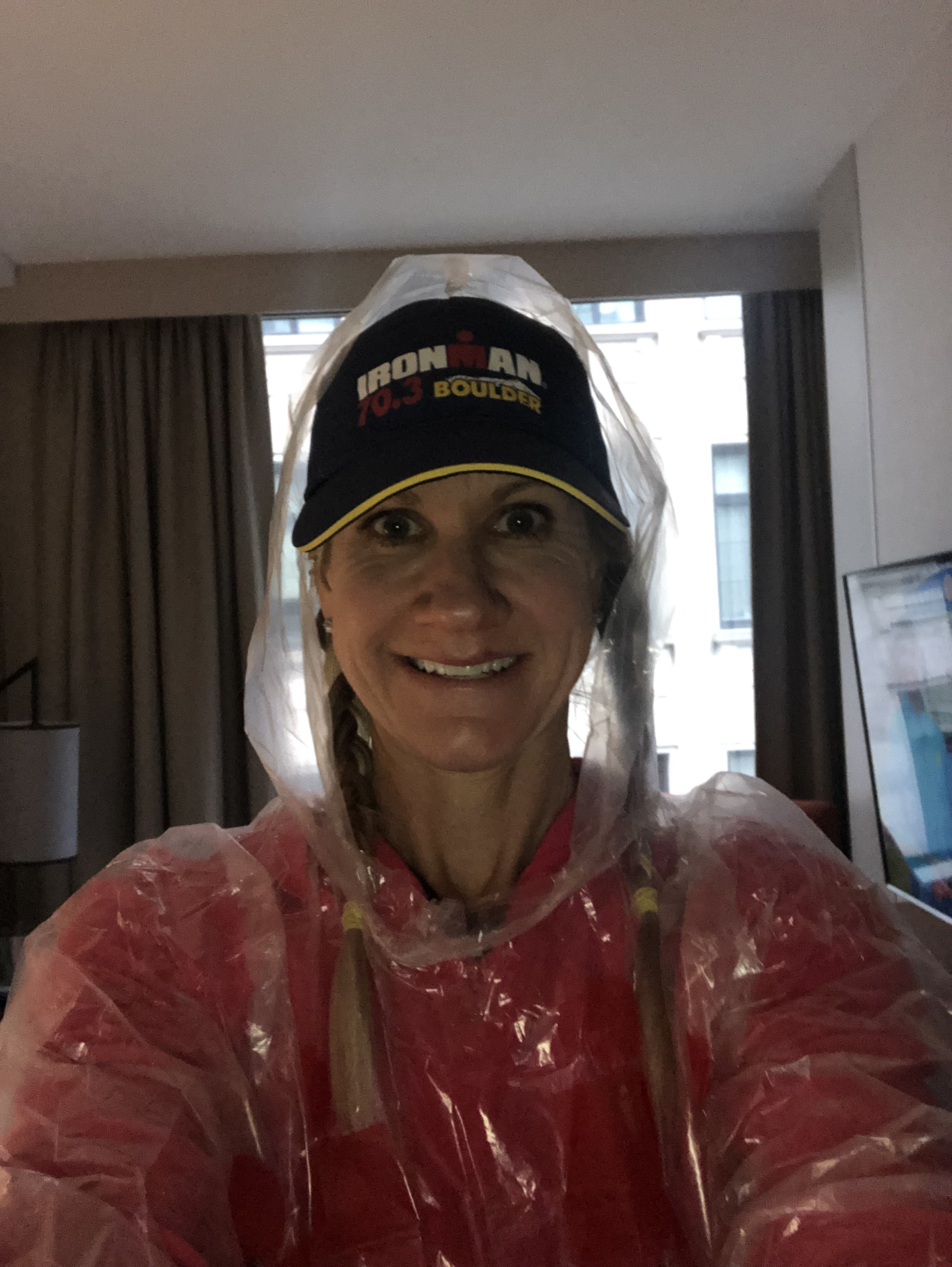 Ready to head out in the rain before the start!