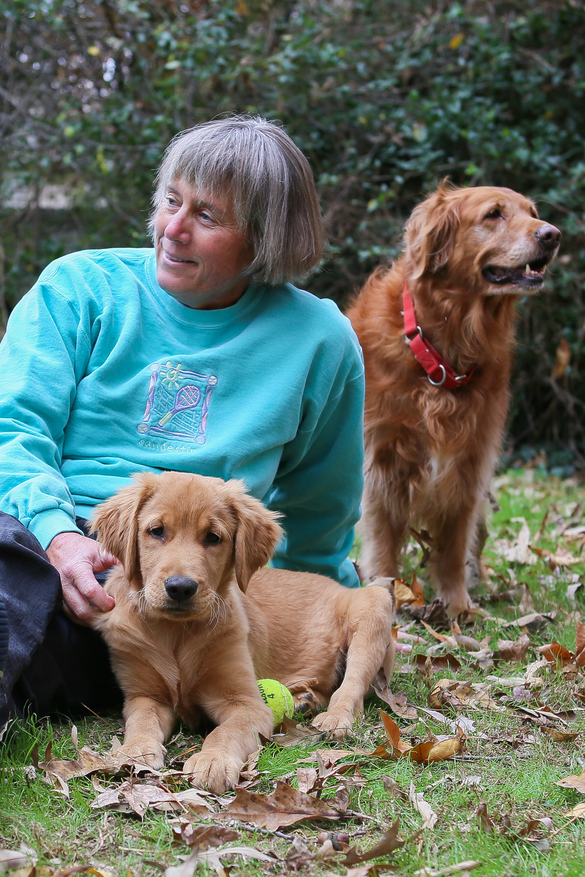Ginger Campbell with Rusty and Greta