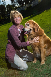 Patricia Churchland with Farley  Photo by Chris Johnson