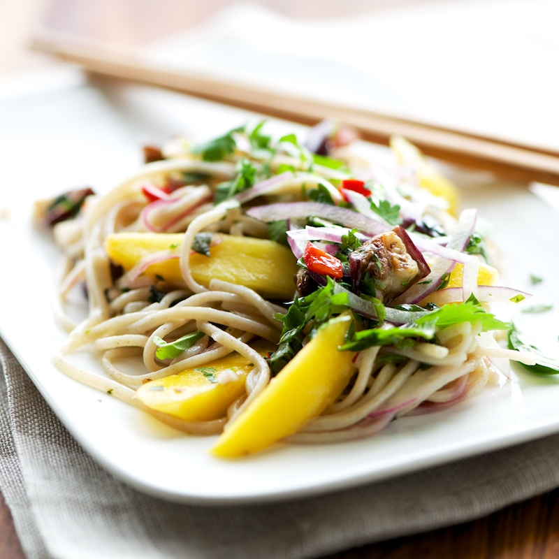 Soba Noodles with Eggplant + Mango