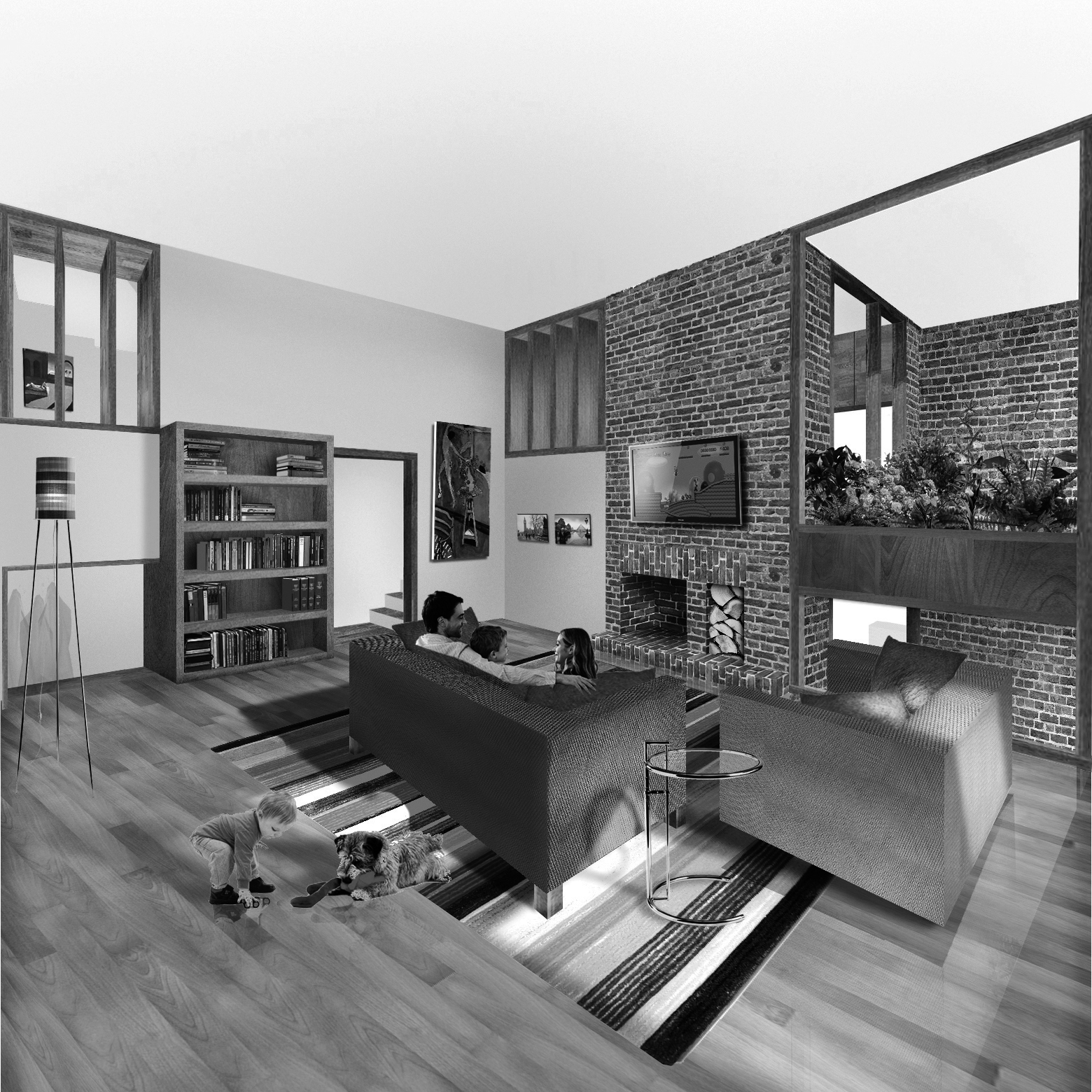 The living room is almost four meters high [one and a half stories] and can interact with the study, kitchen, entrance hallway and both balconies. It contains an open fire hearth.