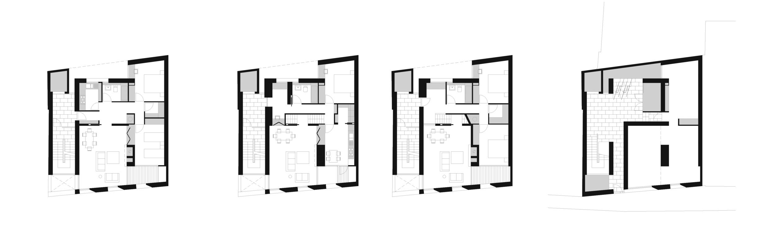 1. UNIT02: Single Floor Unit  2. UNIT01: Duplex Unit, Upper Floor  3. UNIT01: Duplex Unit, Lower Floor [entrance]  4. Ground Level Entrance & Commercial Unit