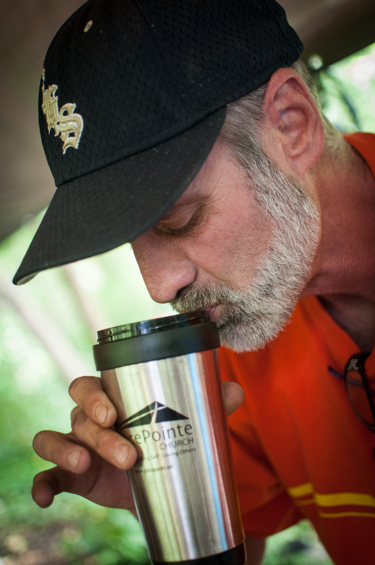 Bobby sipping his coffee Photo by Tasha A F Lemley