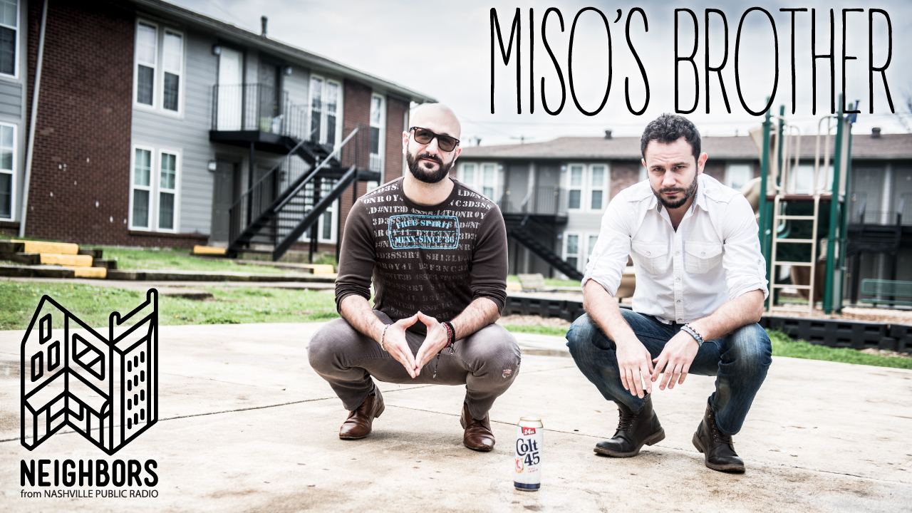 From left to right: Dejan and Miso pose at the apartment complex they met at in Nashville, Tenn. next to a Colt 45 can they drank at Miso's brother's grave in Zenica, Bosnia.
