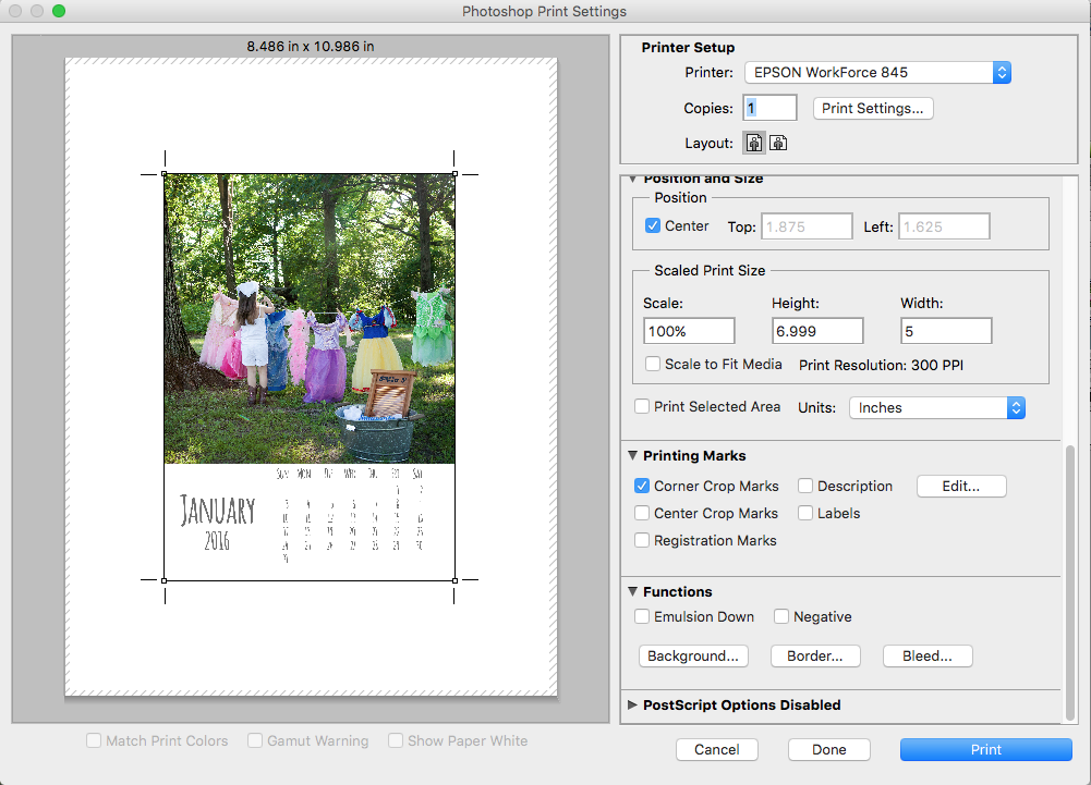 Printing your 2016 Calendar Template Page