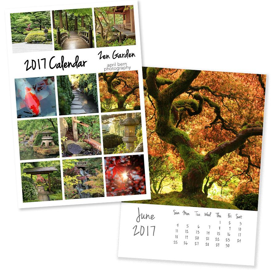 2017 photo calendar - zen garden