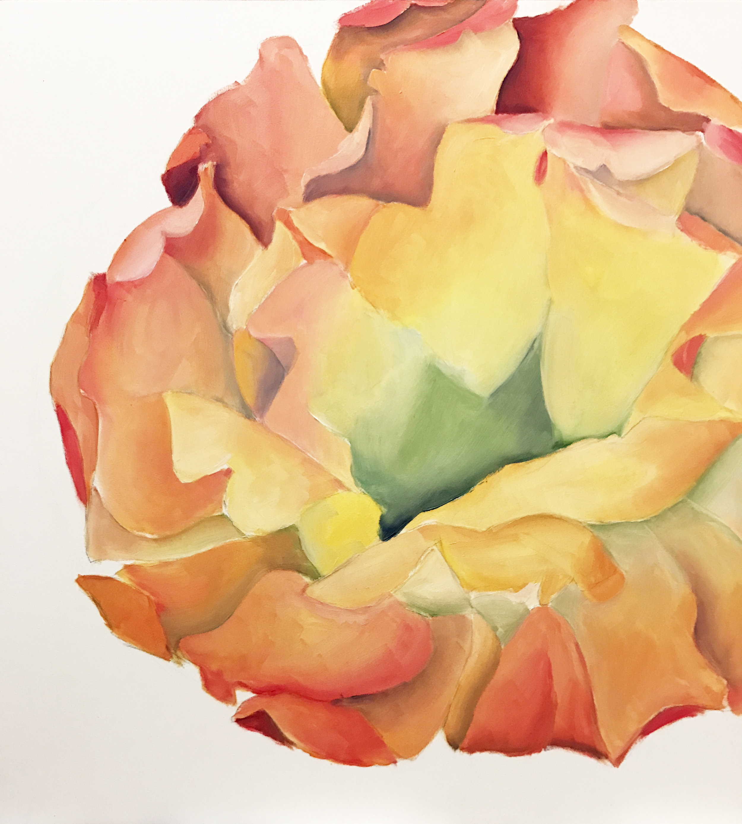 WIP Cactus Flower Original Oil Painting