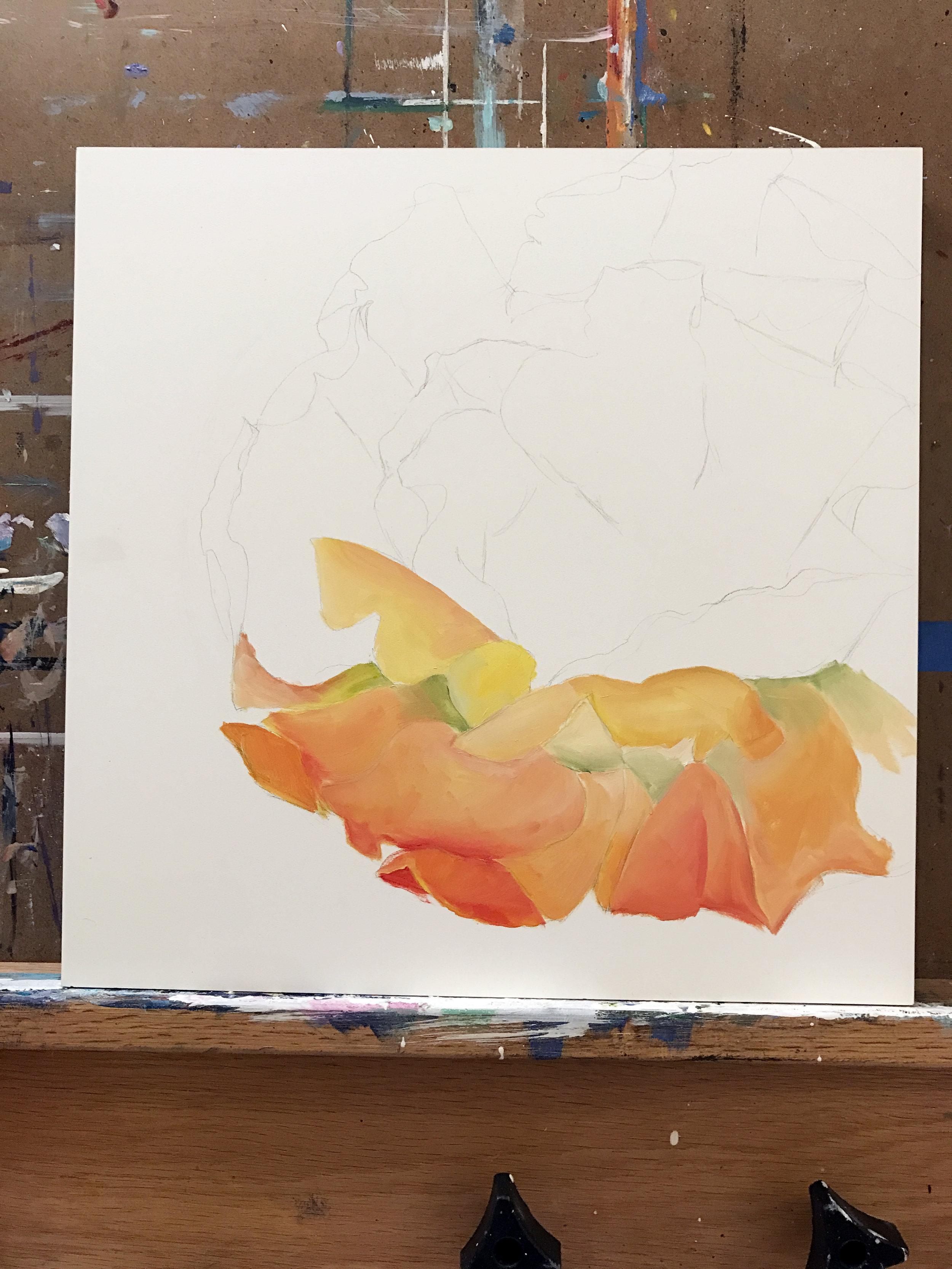 WIP Cactus Flower Oil Painting