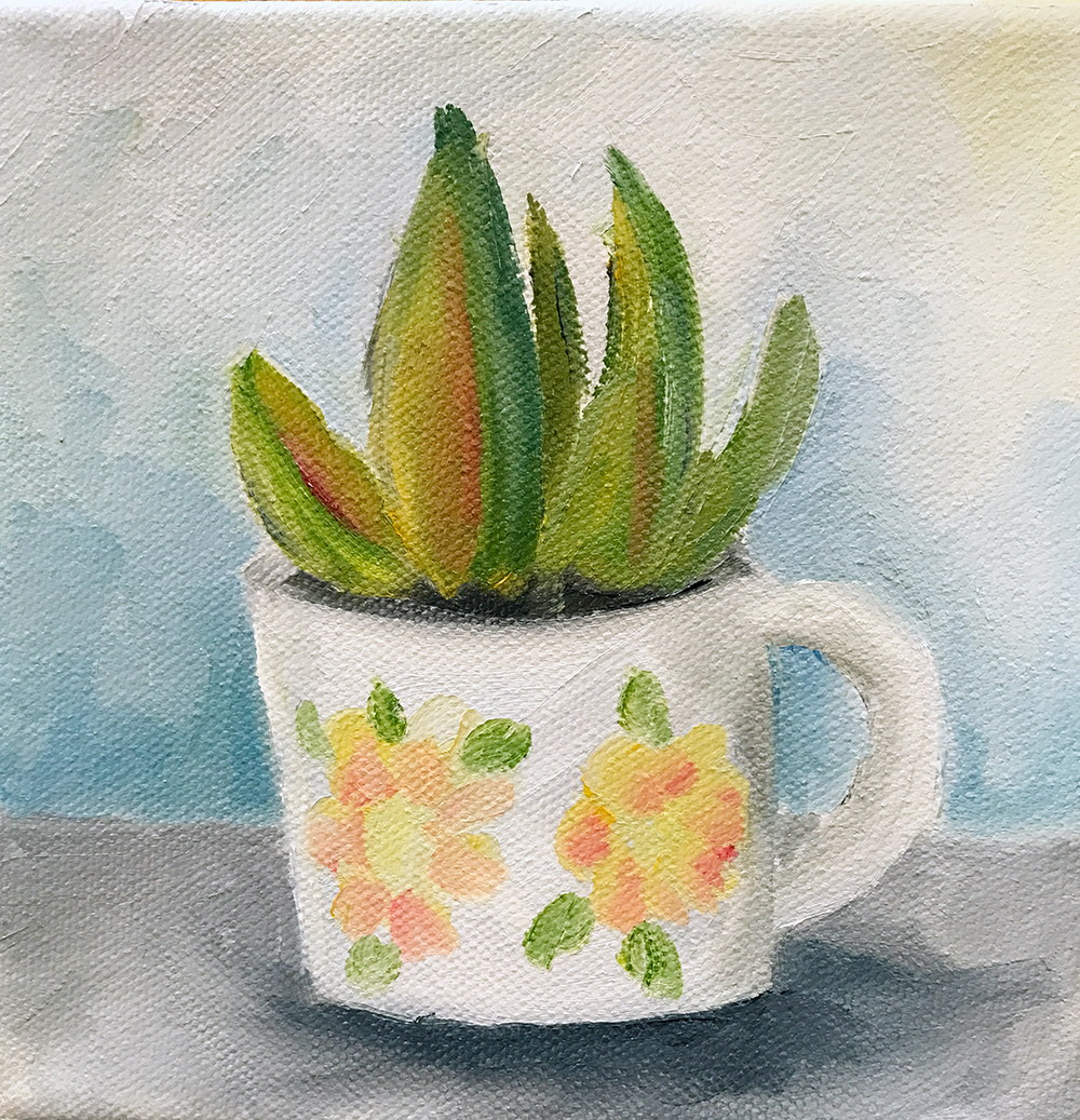 Succulent and Coffee Mug painting by april bern
