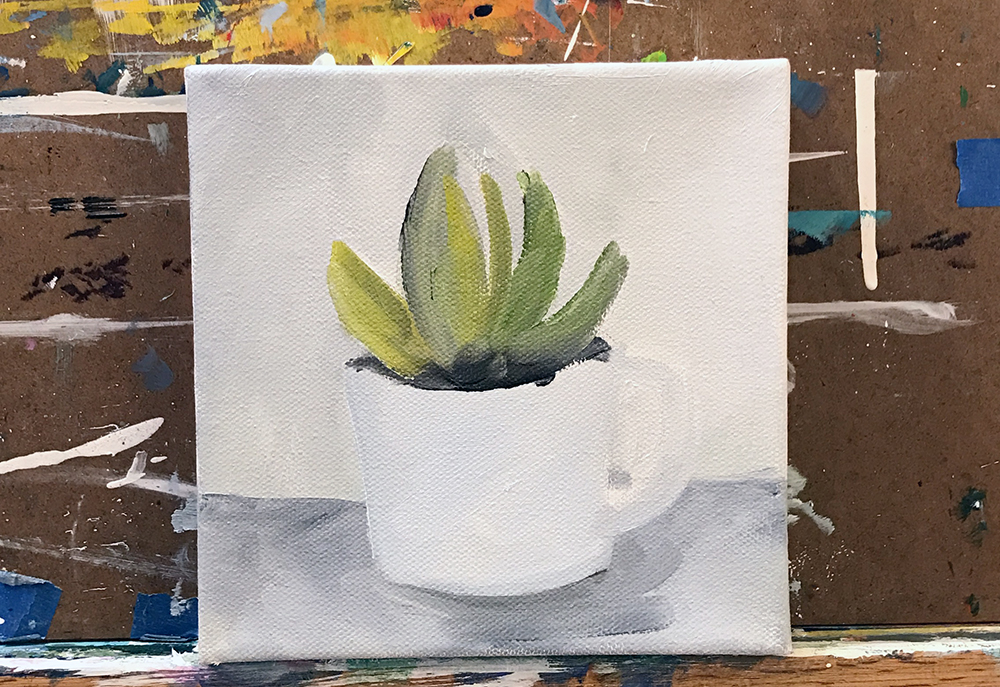 step 1- coffee cup and succulent painting