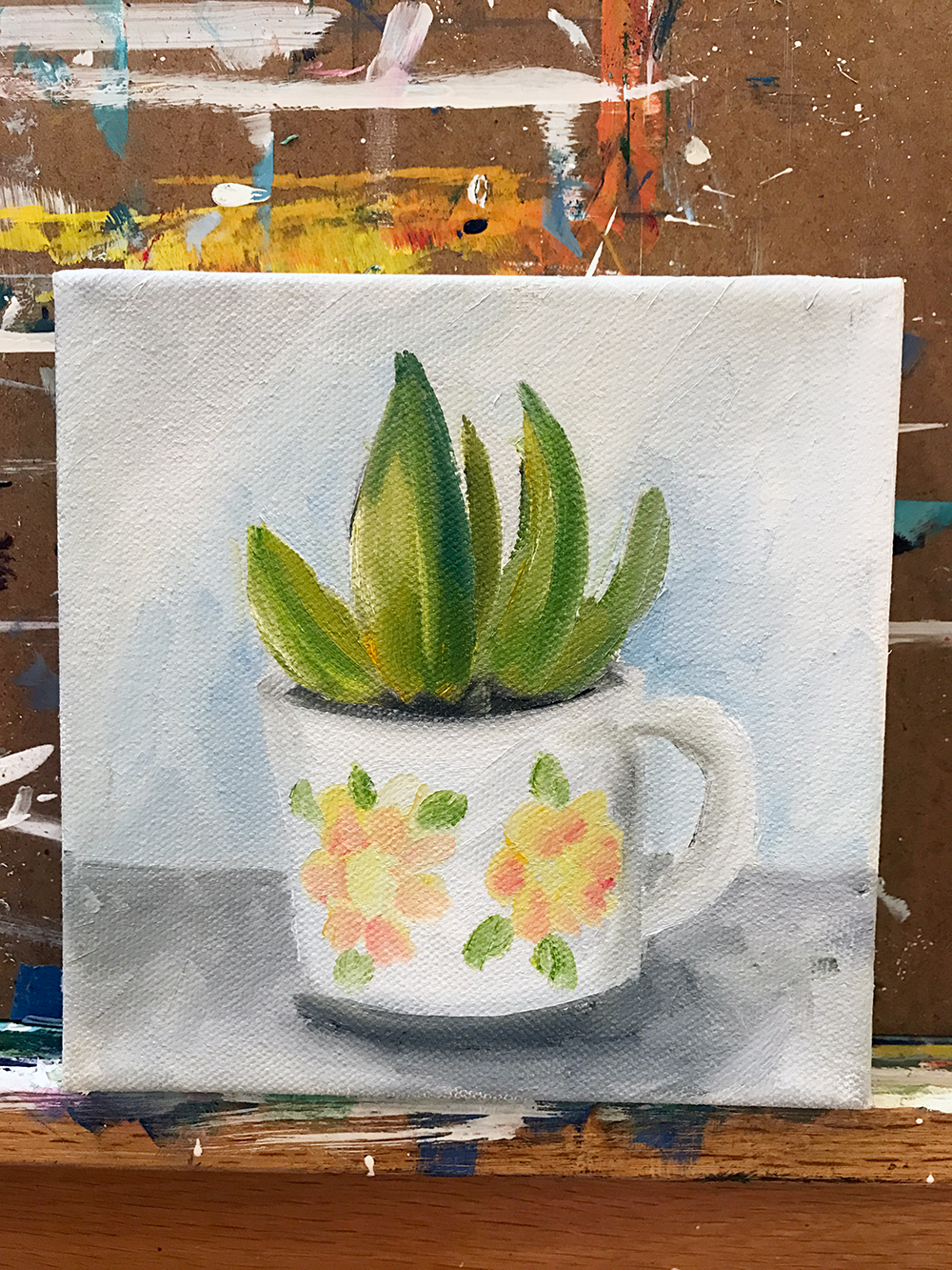 succulent and coffee cup painting