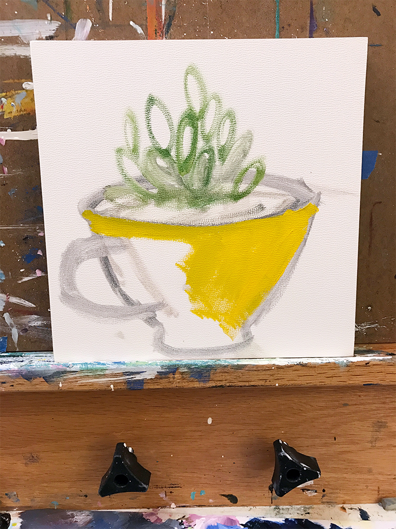 Succulent in Teacup Painting in Progress