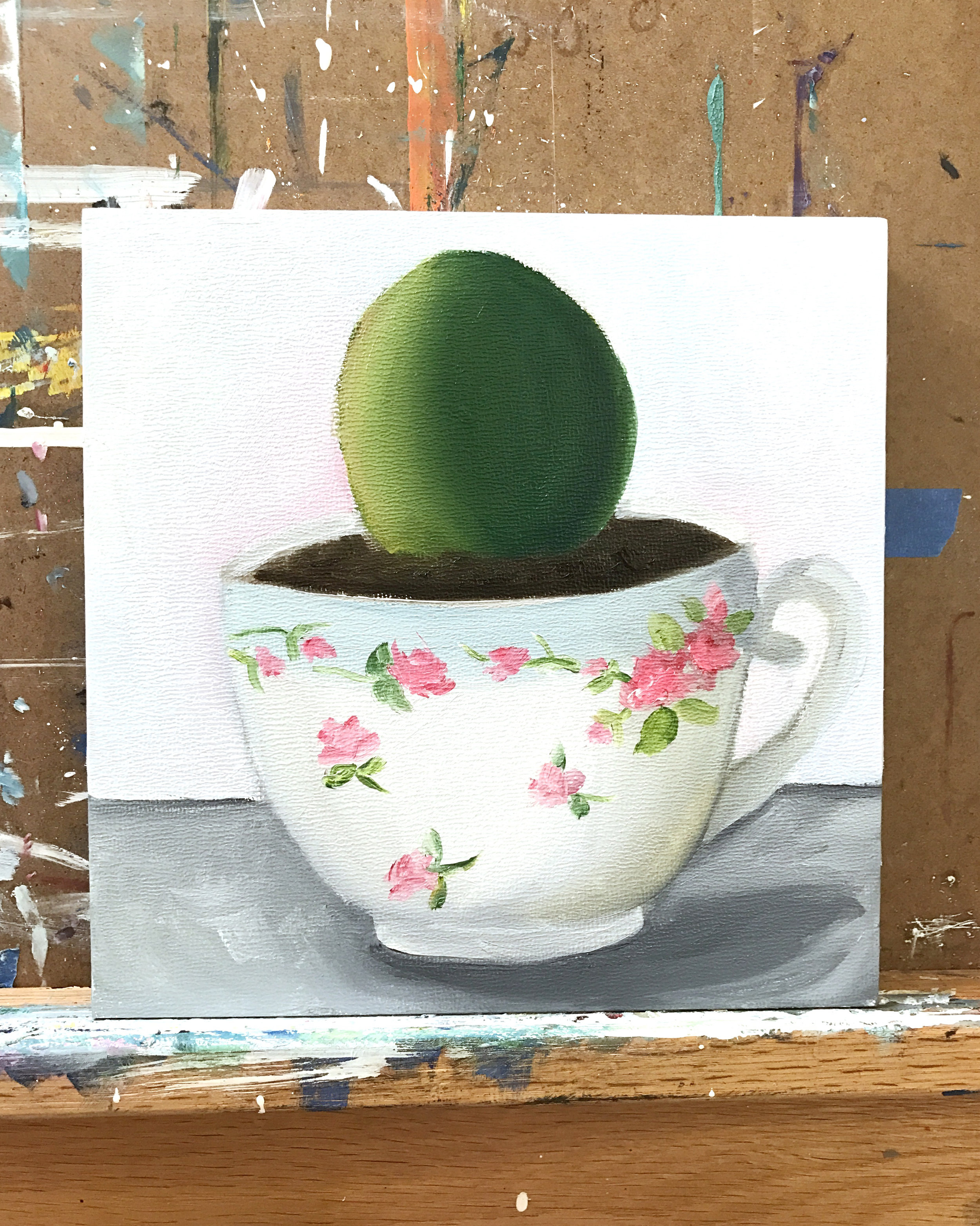 succulent in a vintage teacup original oil painting
