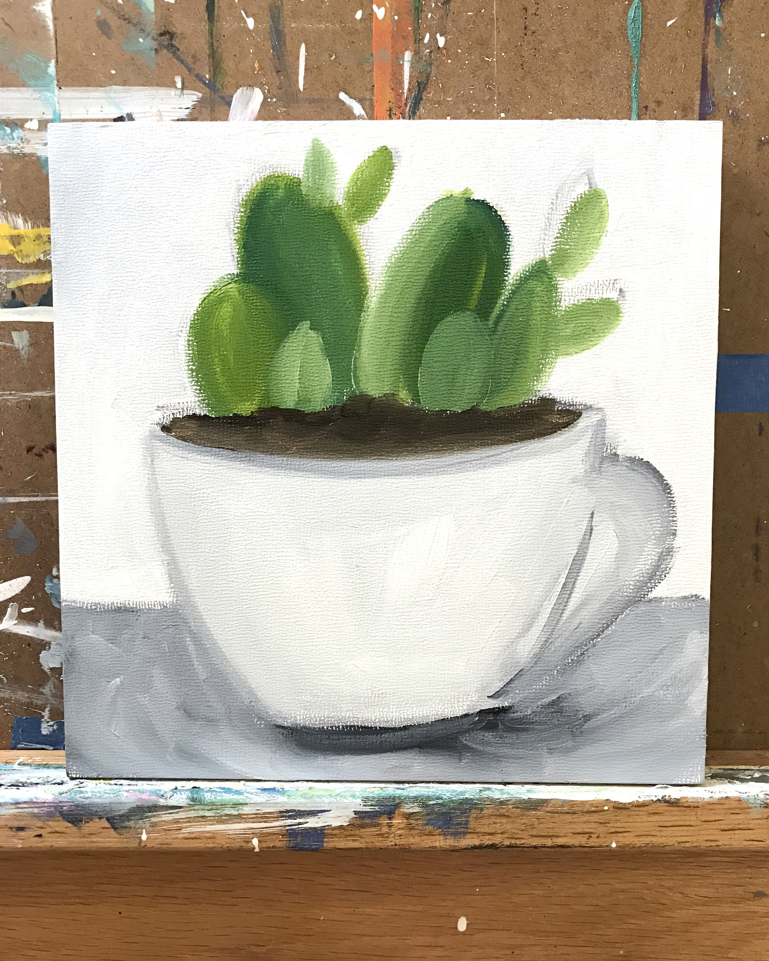 succulent and vintage teacup painting in progress
