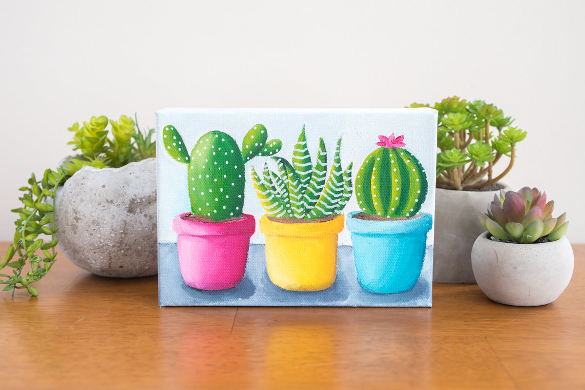 succulent trio original painting by april bern