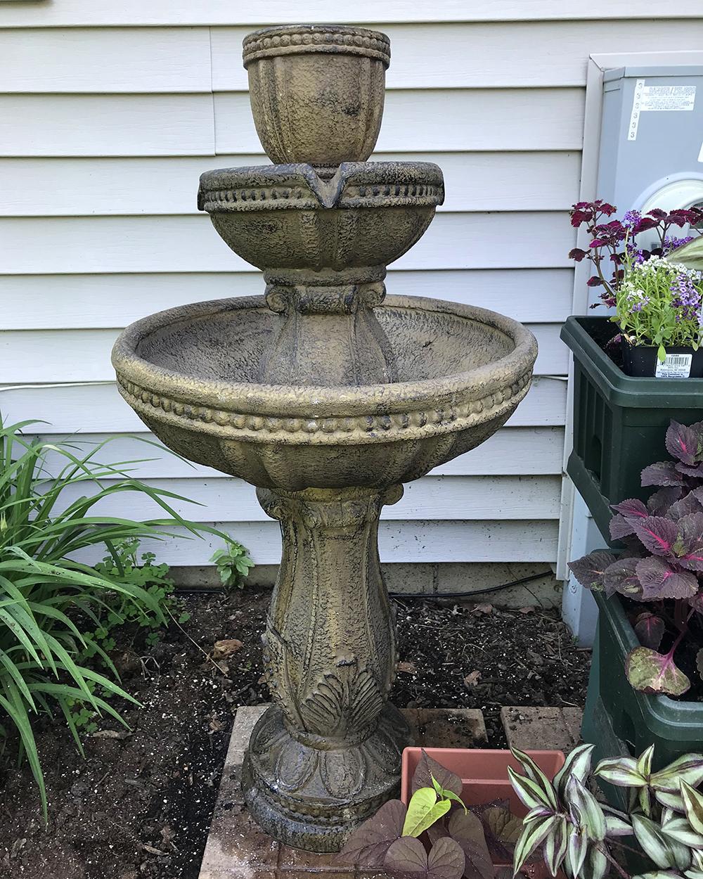 patio garden tour - water fountain planter