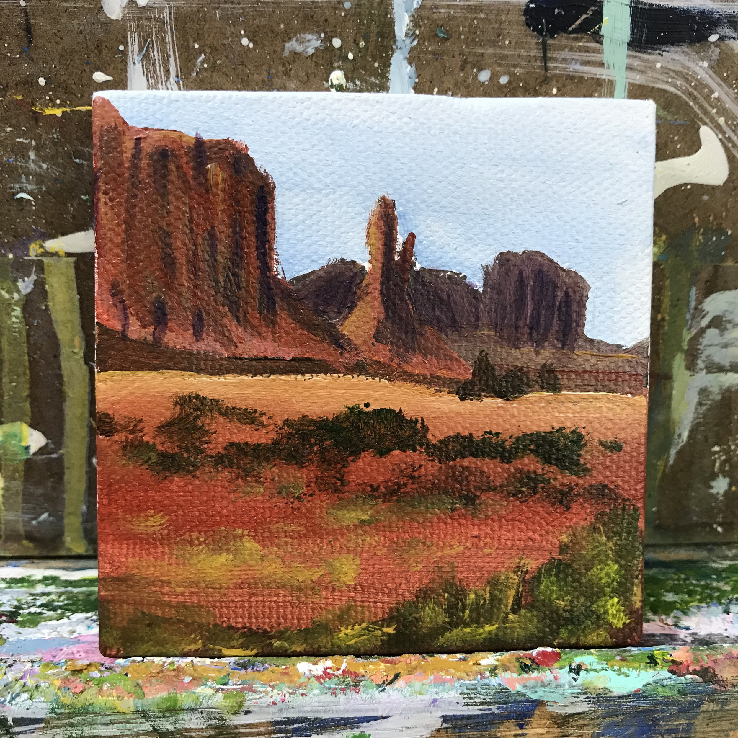 """75/100. Monument Valley. 3""""x3"""" acrylic on canvas."""