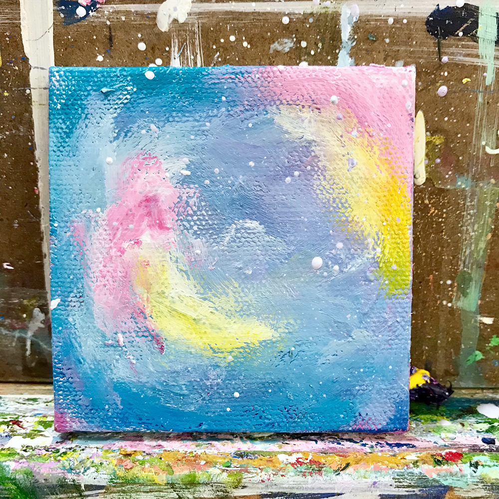 "79/100 3""x3"" acrylic painting. Abstract Cotton Candy."