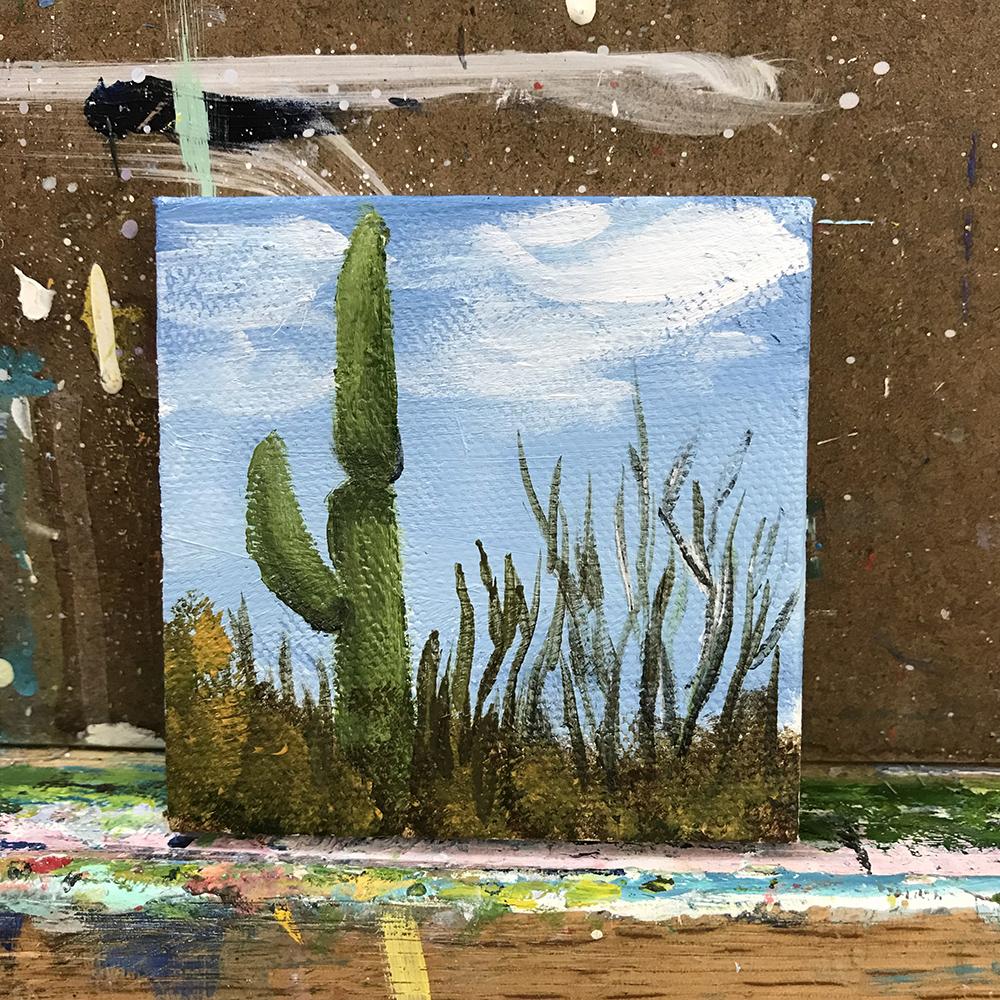 """85/100. Saguaro National Park. 3""""x3"""" acrylic on canvas."""