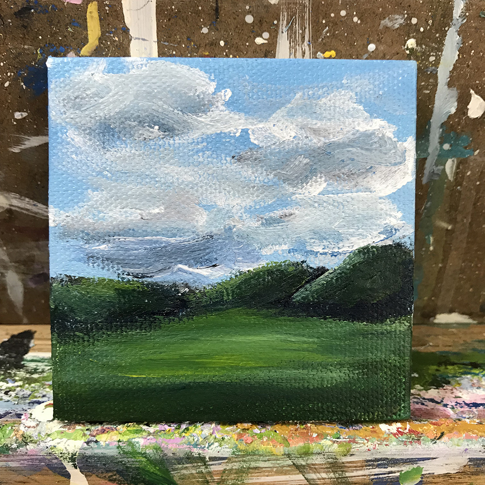 "87/100. ""The Grass is Greener."" Acrylic on 3""x3"" canvas."