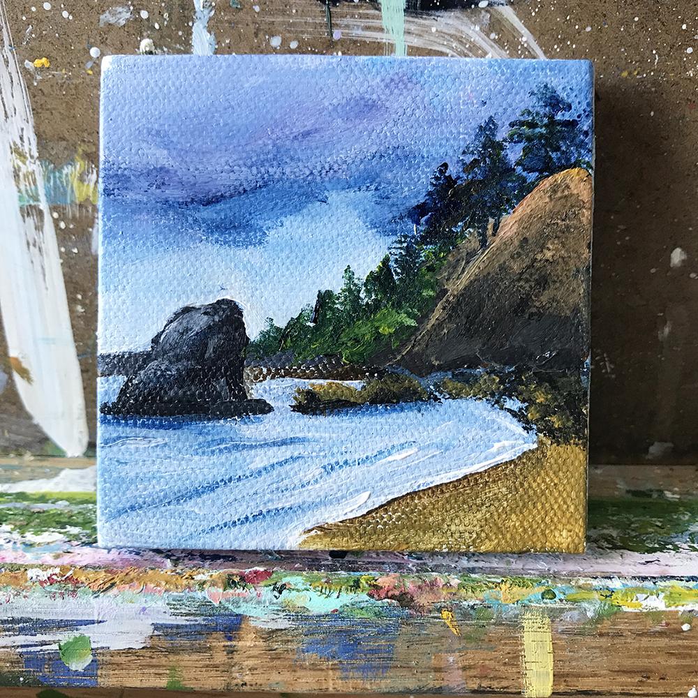 """89/100. Washington Beach. 3""""x3"""" acrylic on canvas."""
