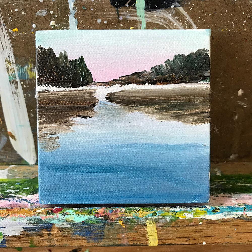 "91/100. 3""x3"" acrylic landscape painting"