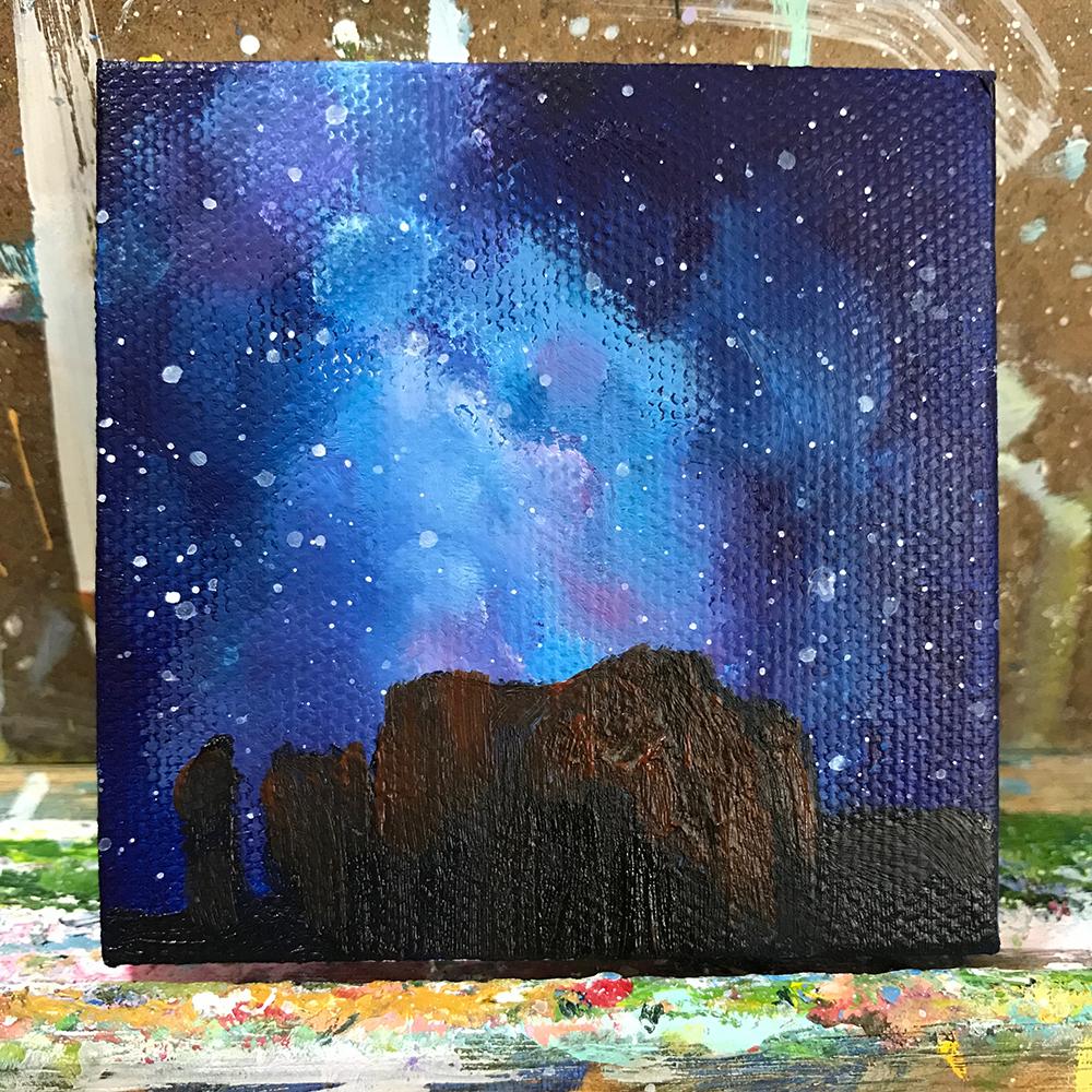"93/100. Milky Way. 3""x3"" acrylic painting on canvas"