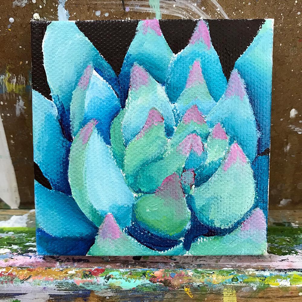 "95/100. Echeveria chihuahuensis. 3""x3"" acrylic on canvas."