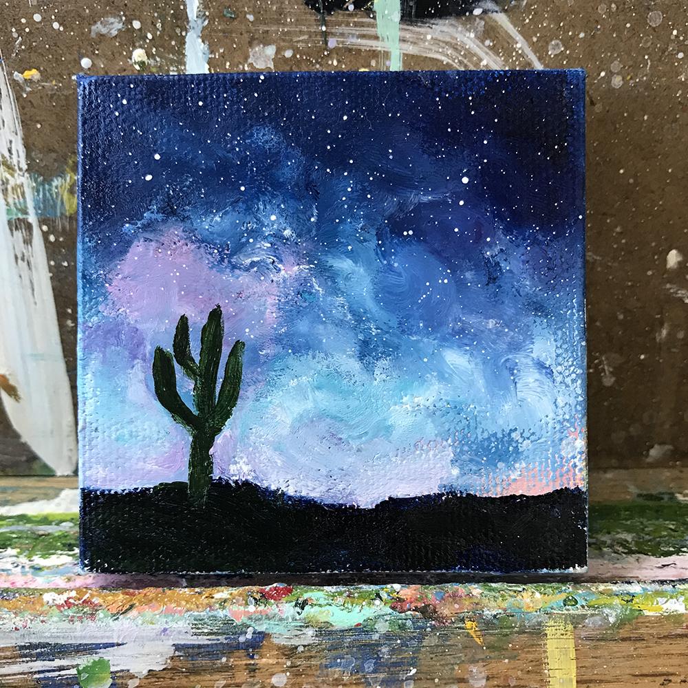 "100/100. Saguaro. 3""x3"" acrylic on canvas."