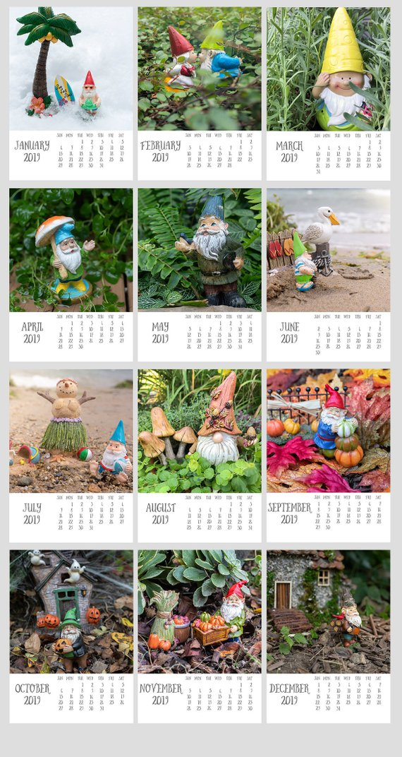 2019 Garden Gnome 5x7 Calendar