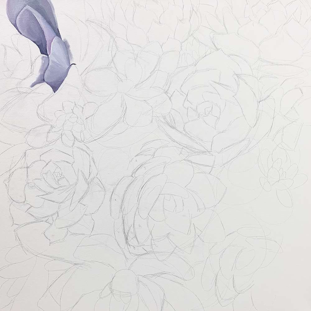 WIP - Succulent Garden Painting. Starting to paint!