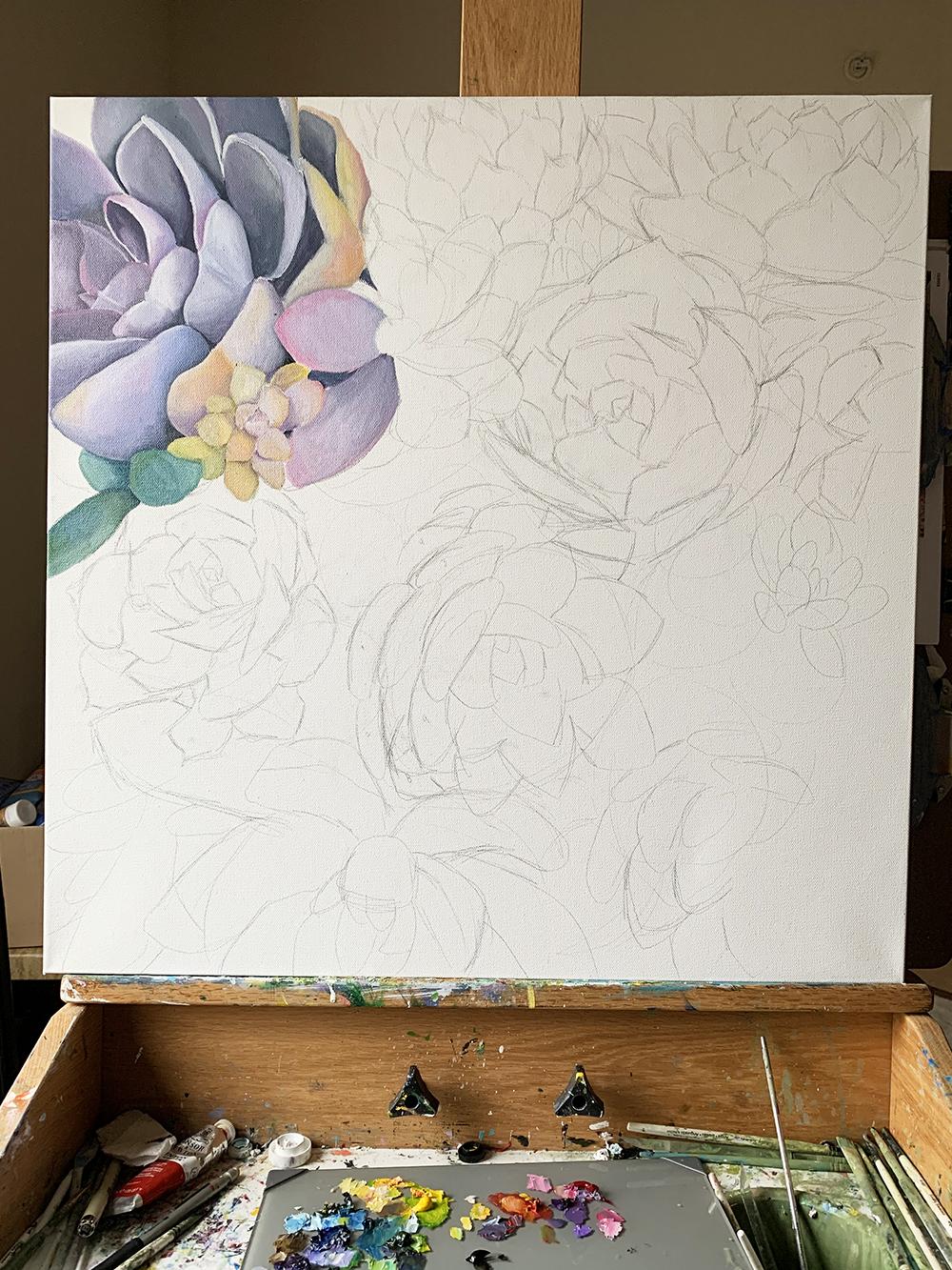 WIP - Succulent Garden Painting Update