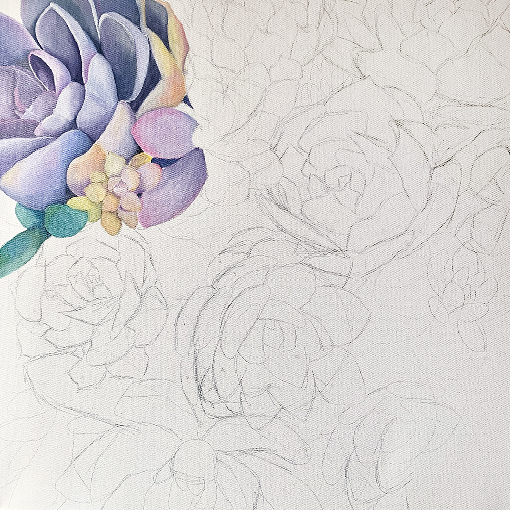 WIP - Succulent Garden Painting Progress Shot