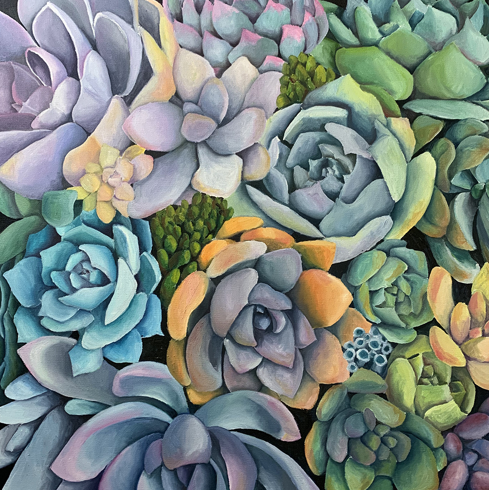 "Succulent Garden - 25""x25"" Oil Painting on Canvas"