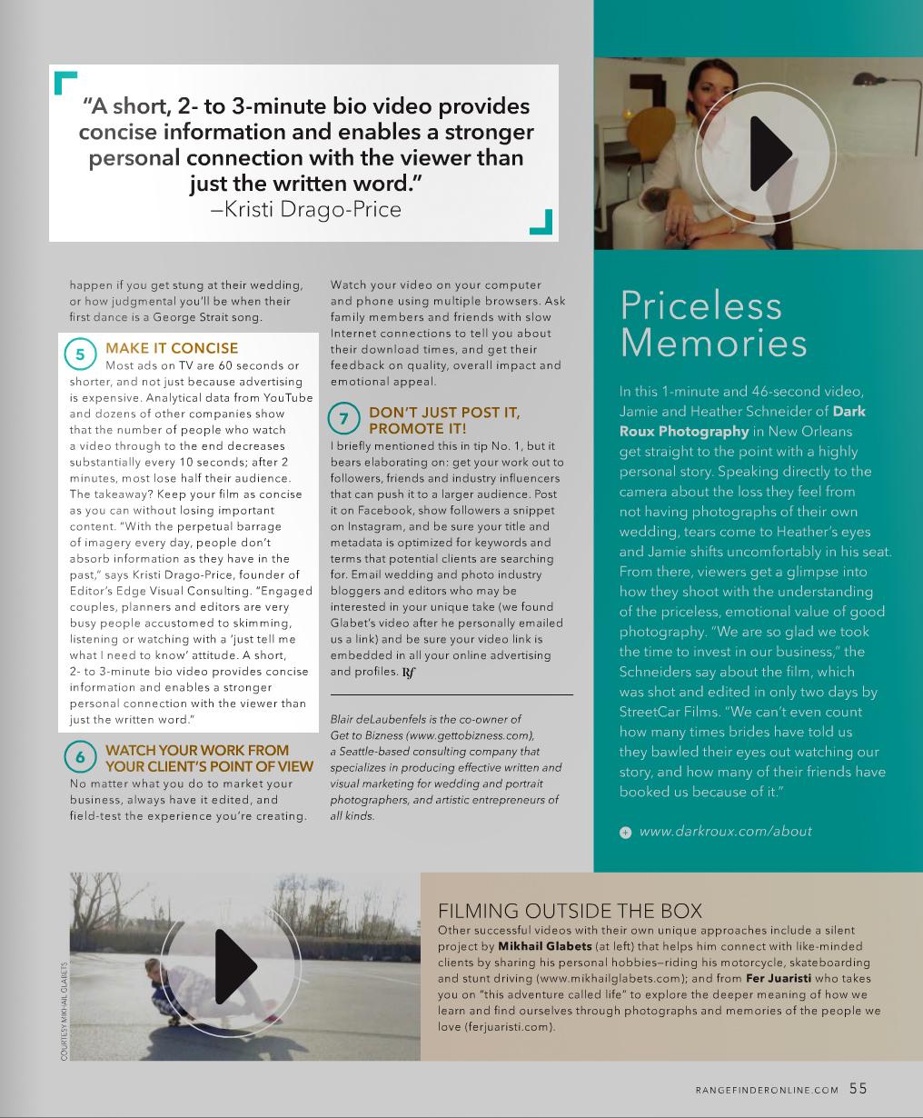 Kristi Drago-Price featured in Rangefinder Magazine | Editor's Edge