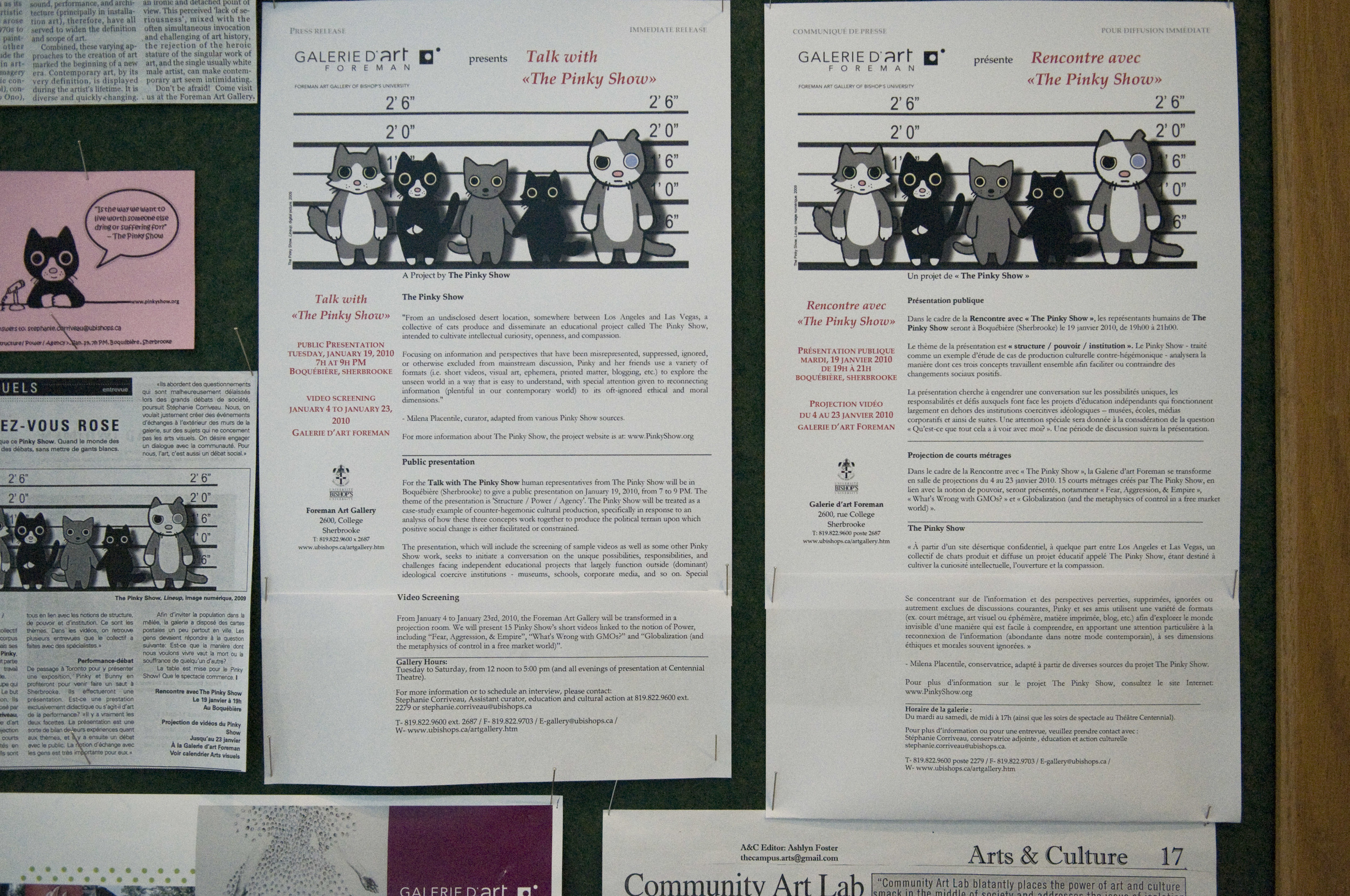 The unbelievably tidy information board at Bishop's University's Art Gallery.