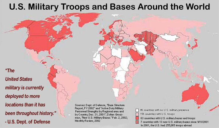 U.S. Military troops and bases around the world.