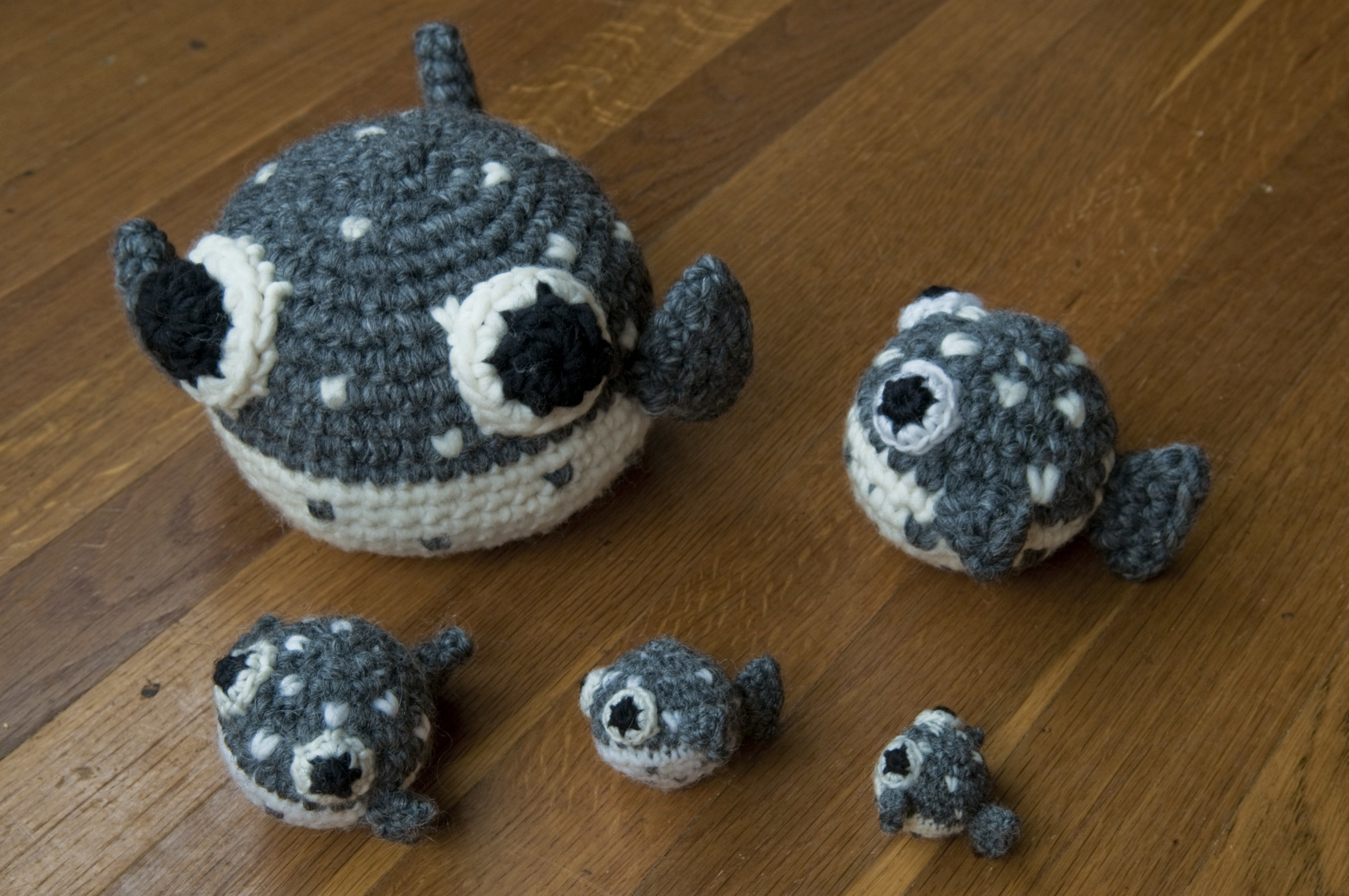 These are some pufferfish that I made. I made several so that I could find the right size.