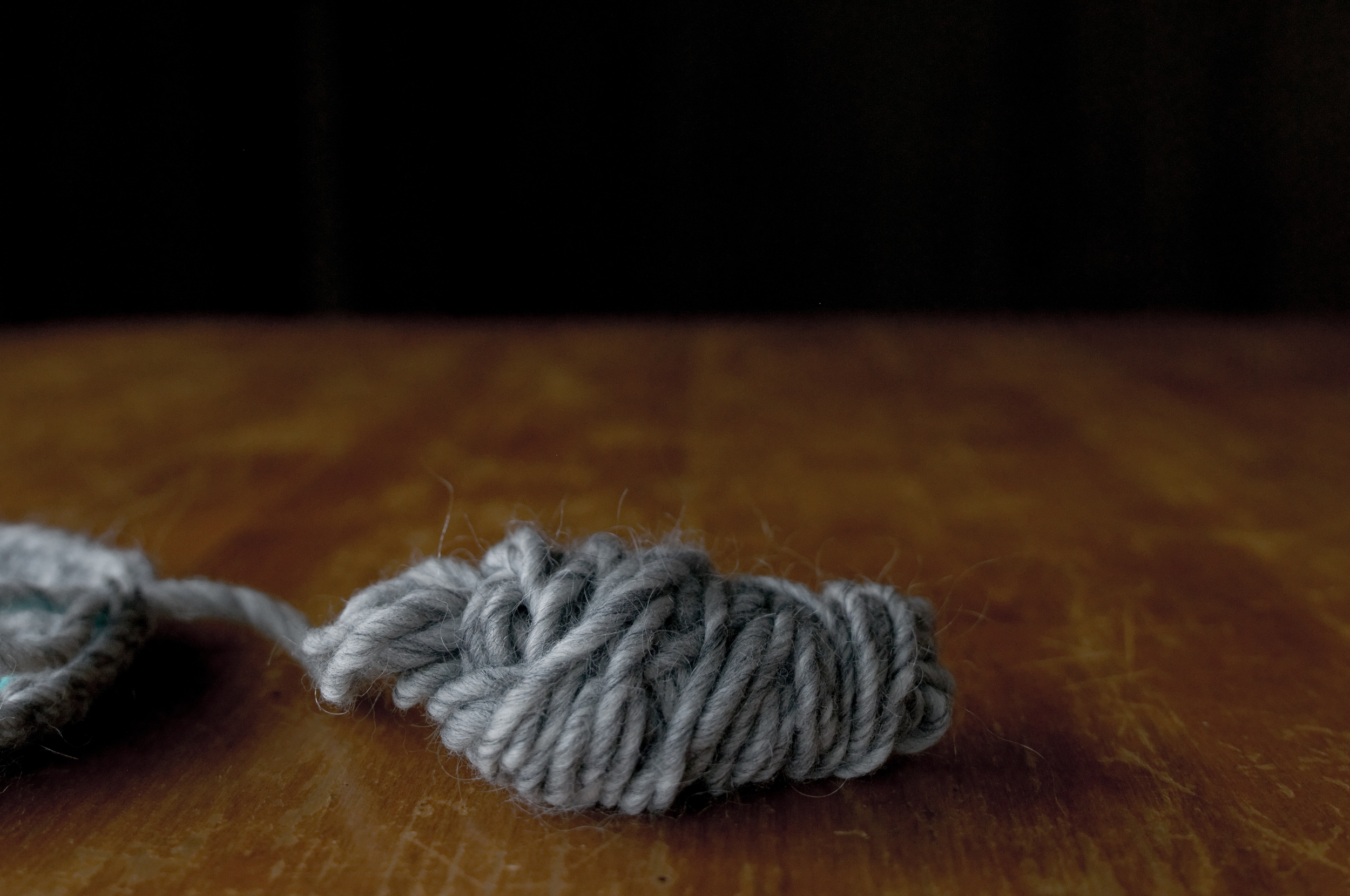 Here's a close-up of the yarn I'm currently using. It's a very thick yarn made by Brown Sheep Company in Nebraska.